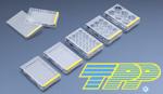 TPP Zellkulturtestplatten ausgelegt mit Logo