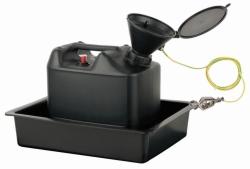 Entsorgungseinheit mit Sicherheitstrichter und Auffangwanne, HDPE, elektrisch ableitfähig
