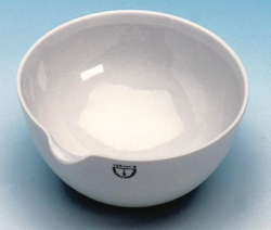 Abdampfschalen, Porzellan, mit Ausguss und Rundboden, halbtief