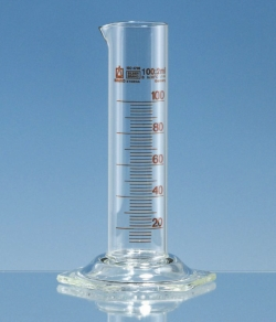 Messzylinder, Borosilikatglas 3.3, niedere Form, Klasse B, braun graduiert