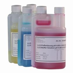 LLG-pH-Pufferlösungen mit Farbcodierung in Twin-Neck-Dosierflaschen