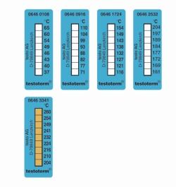Temperaturmessstreifen testoterm®, irreversibel, 8 Temperaturen