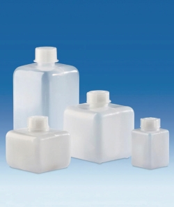Vierkant-Enghalsflaschen, HDPE, mit Schraubverschluss, LDPE