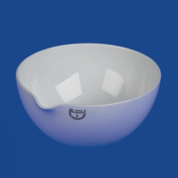 Abdampfschalen, Porzellan, mit Ausguss und flachem Boden
