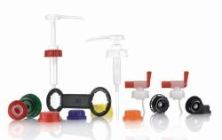 Schraubverschlüsse, Schlüssel und Dosierpumpen für Kanister, HDPE