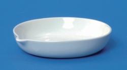 LLG-Porzellan-Abdampfschalen mit Ausguss und flachem Boden, niedrig