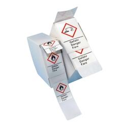 LLG-GHS Etiketten, selbstklebend, Rolle in Spenderbox
