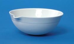 LLG-Porzellan-Abdampfschale mit Ausguss und Rundboden, halbtief