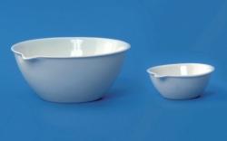 LLG-Porzellan-Abdampfschalen mit Ausguss und flachem Boden, halbtief